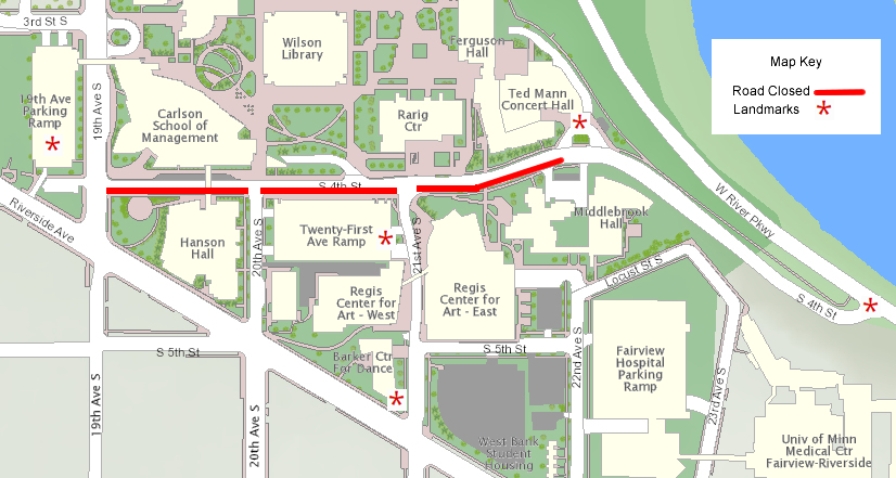 UMN West Bank Map - July 2019 construction impacts